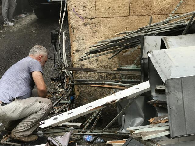 man by destruction after Lebanon explosion