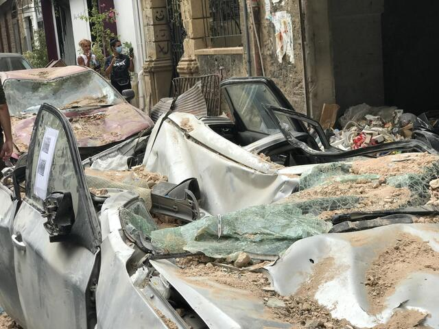 Damaged car after Lebanon explosion