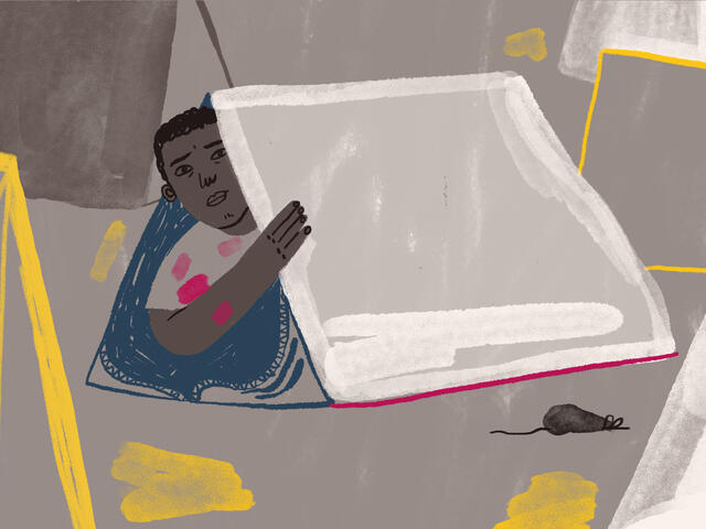 Illustration by Jocie Juritz about mental health crisis on the Greek islands
