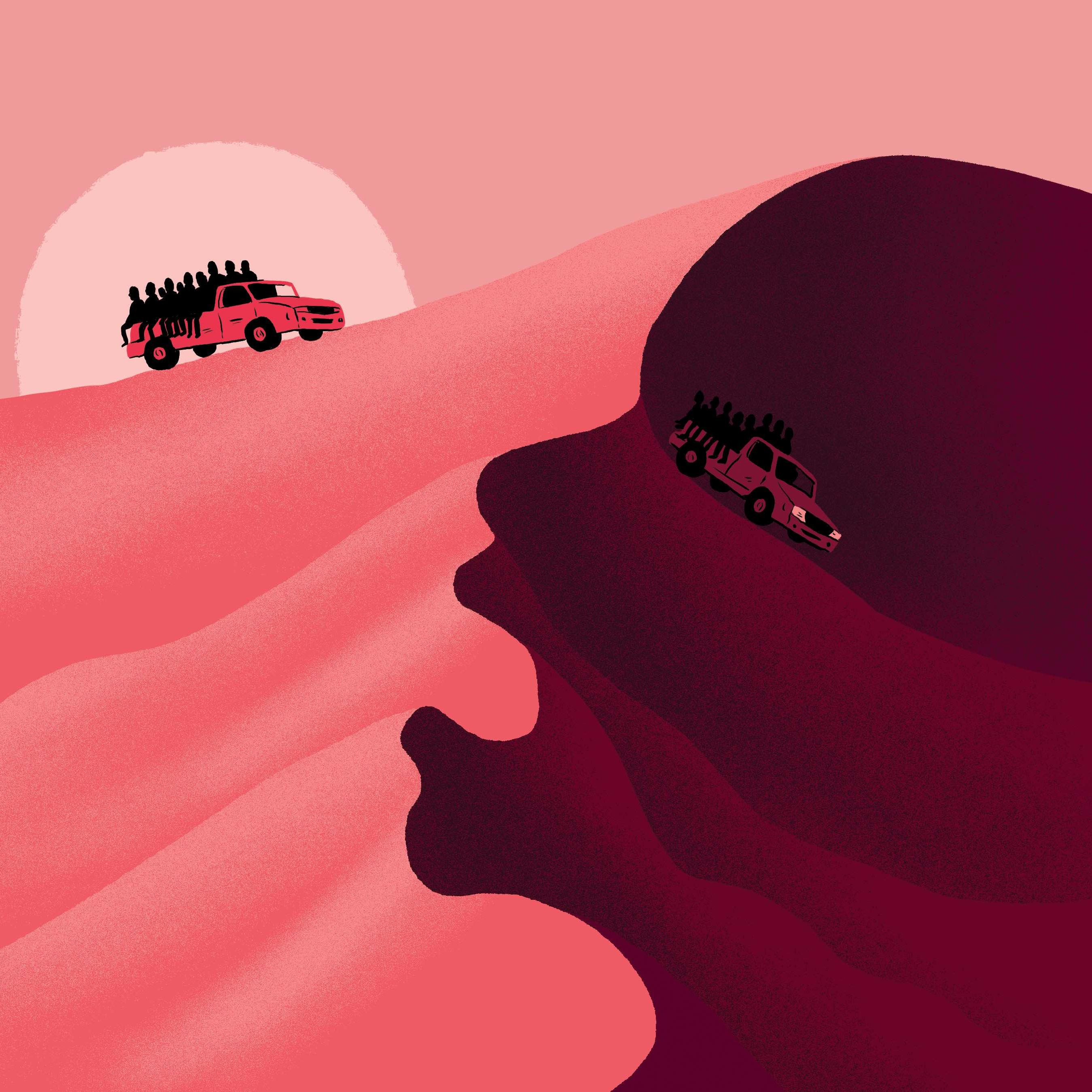 Paul Blow illustration about desert journey in Sahara Niger