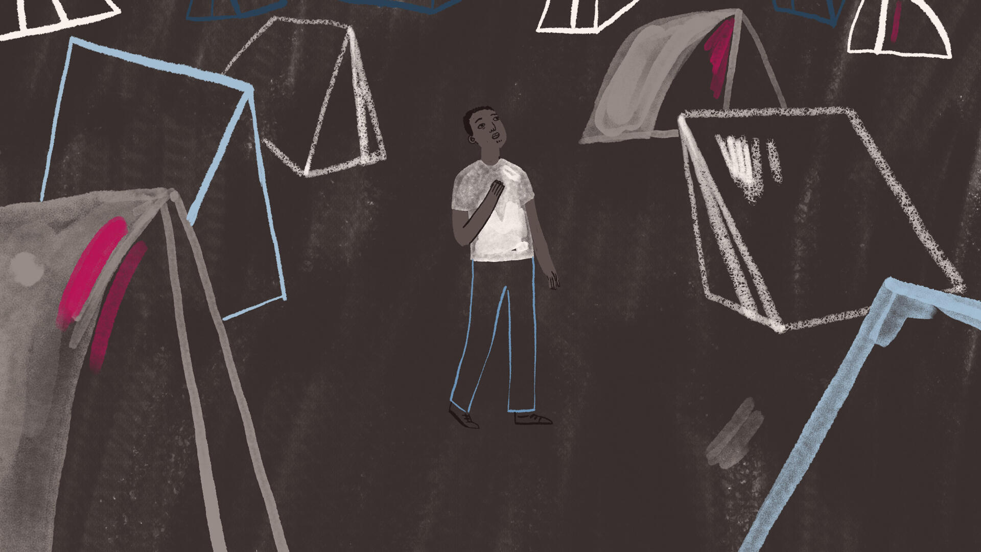 Jocie Juritz illustration about the mental health crisis on the Greek islands -- Baimba's story