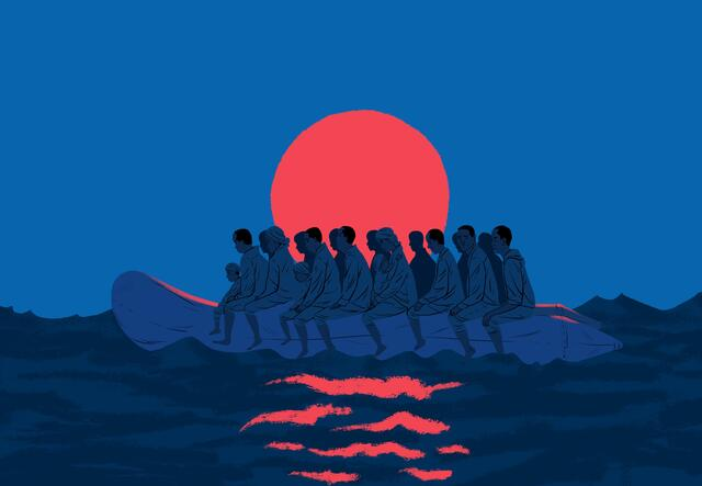 Paul Blow illustration of refugees crossing the Mediterranean in a small boat