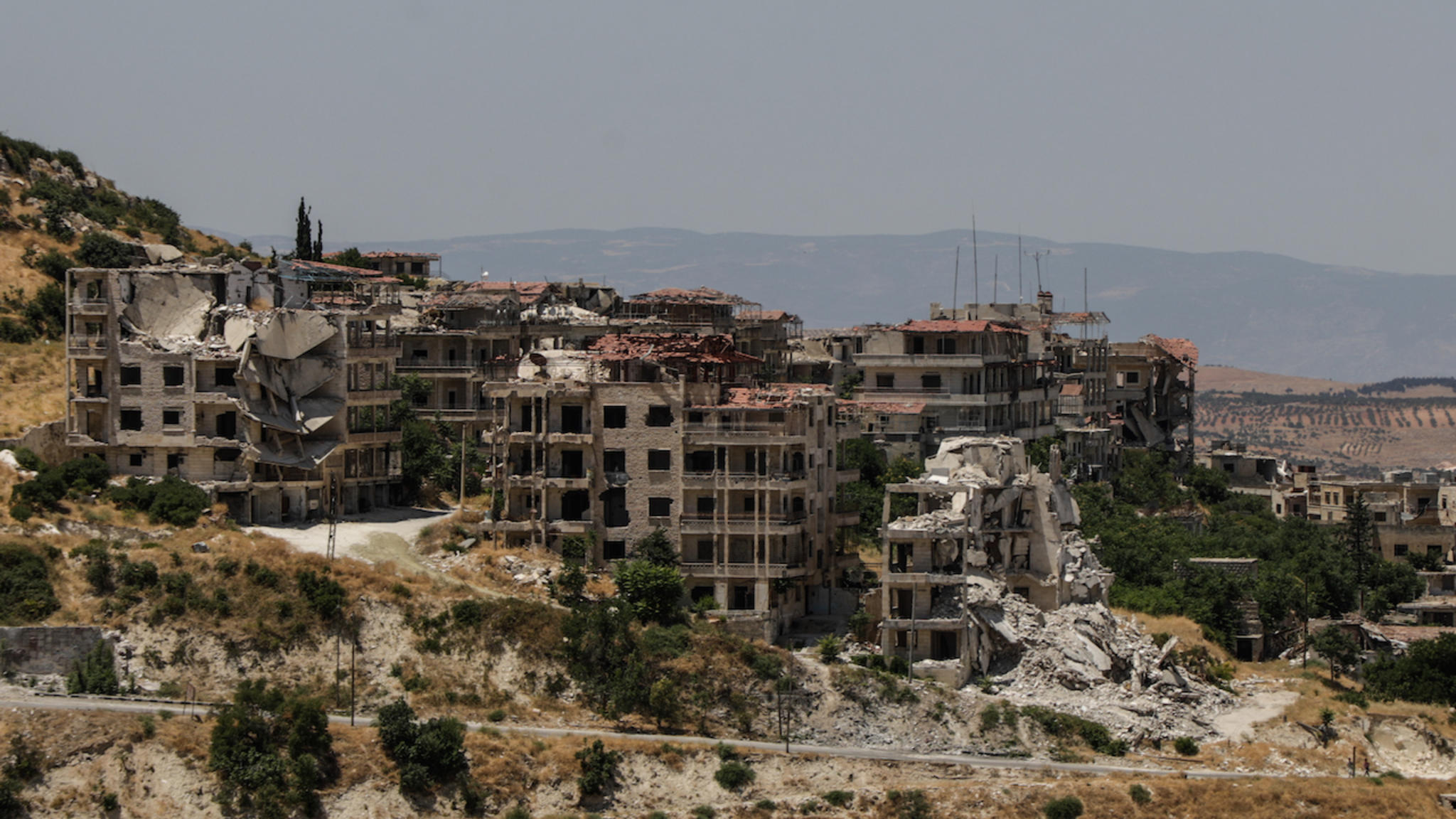 Destroyed buildings in Ariha, a city in Idlib province, Syria.