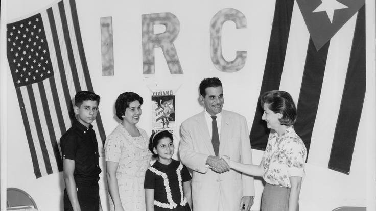 A cuban refugee family in the IRC restettlement office