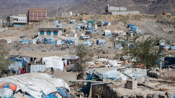 Landscape showing living conditions in Sahdah camp in Yemen